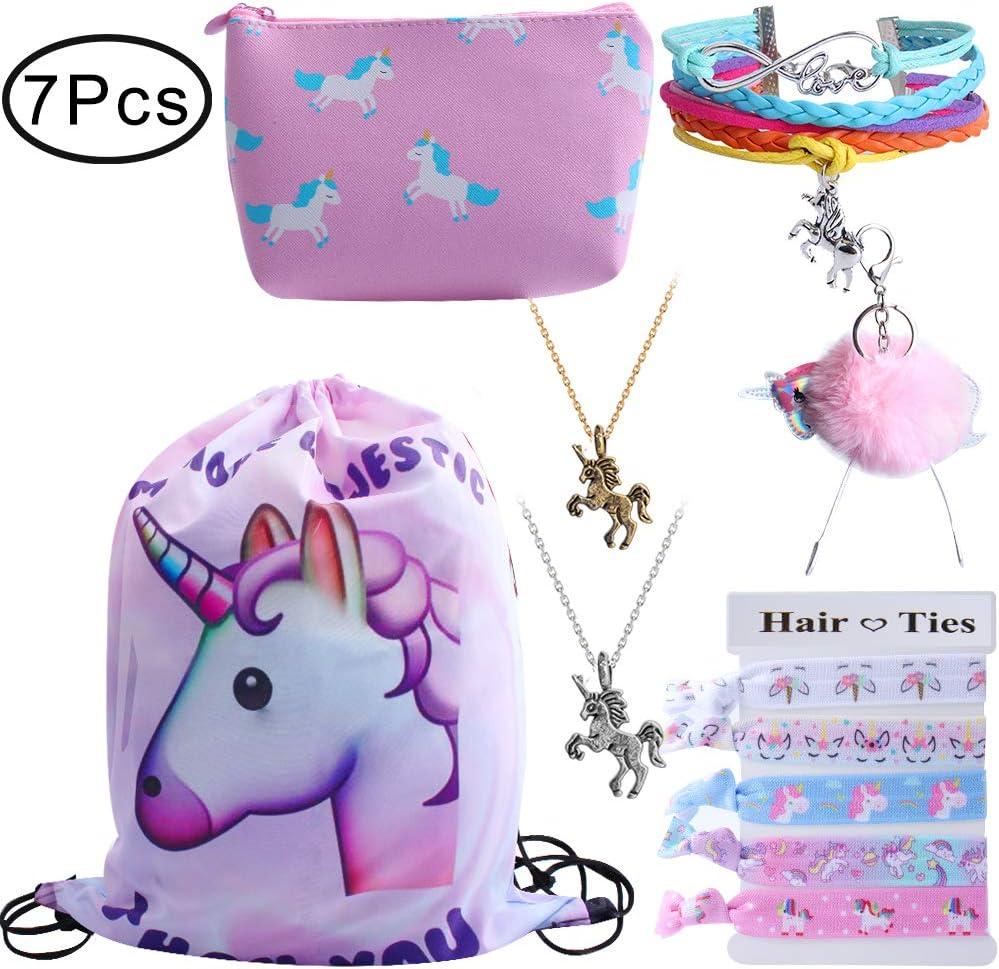 Mochila con cordón para regalo de unicornio para niñas, incluye bolsa de maquillaje, pulsera, collar, juego de lazos para el pelo para fiestas de unicornio