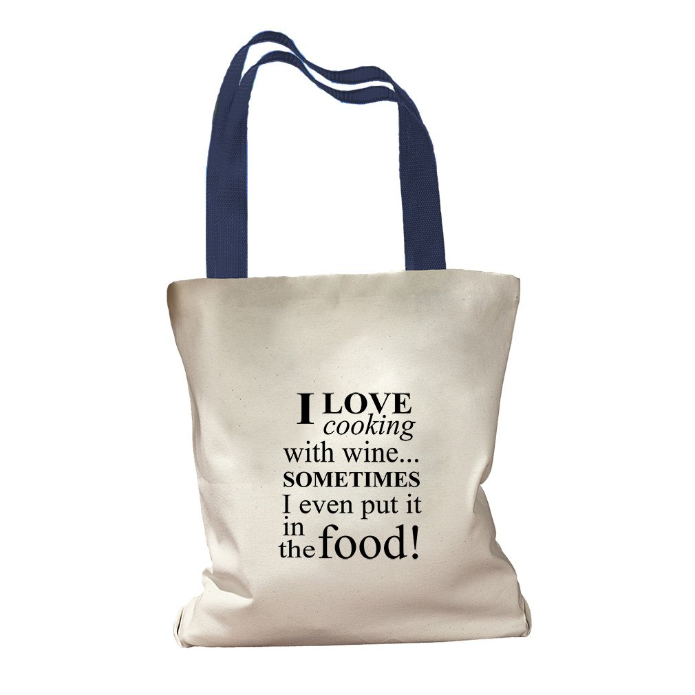 Love Cooking Even Put It In The Food Canvas Colored Handles Tote - Royal Blue