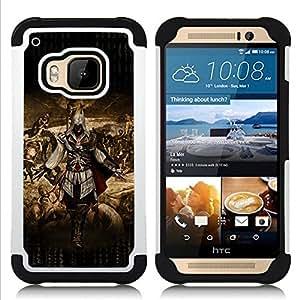 """HTC One M9 /M9s / One Hima - 3 en 1 impreso colorido de Altas Prestaciones PC Funda chaqueta Negro cubierta gel silicona suave (Banksy Chica de Graffity"""")"""