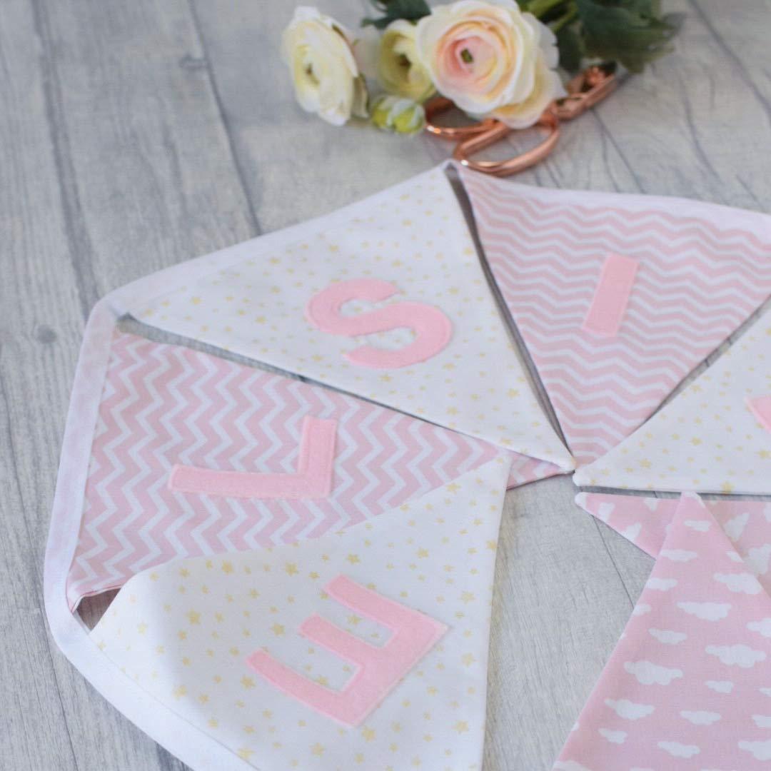 Personalised Pink//Grey Fabric Bunting ~ Name Gift Baby Girl ~ Nursery//Kids