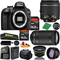Great Value Bundle for D3400 DSLR – 18-55mm AF-P + 70-300mm AF-P + 2PCS 16GB Memory + Wide Angle + Telephoto Lens + Case
