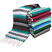 El Paso Designs Mexican Yoga Blanket Colorful 47in x 68in Yoga Studio Mexican Falsa Blanket Ideal for Yoga, Camping, Picnicking, Beach Blanket, Bedding, & Home Decor Soft Woven Serape