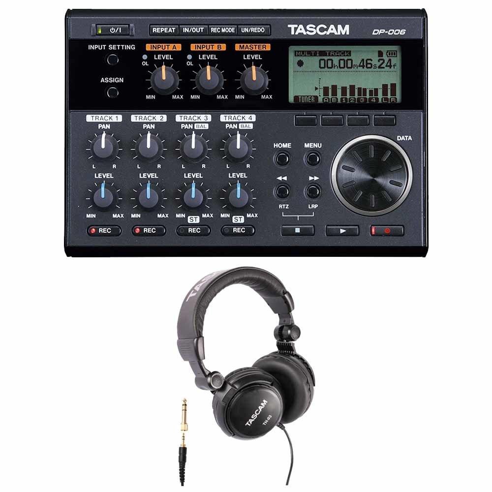 Tascam DP-006 Digital Portastudio 6-Track Portable Multi-Track Recorder with Studio Headphones