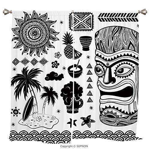Rod Pocket Curtain Panel Thermal Insulated Blackout Curtains for Bedroom Living Room Dorm Kitchen Cafe/2 Curtain Panels/55 x 45 Inch/Tiki Bar Decor,Tribal Ethnic Composition Palms Pineapple Paradise V - Rose Prairie Cup
