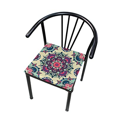 "HNTGHX Outdoor/Indoor Chair Cushion Vintage Ethnic Mandala Flower Square Memory Foam Seat Pads Cushion for Patio Dining, 16"" x 16"": Home & Kitchen"