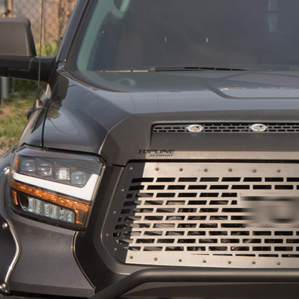 Topline Autopart Black Rectangle Mesh Hood Bulge Molding Metal Scoop Grille Insert with LED Lights For 14-20 Toyota Tundra