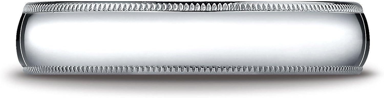Benchmark 10K White Gold 5mm Slightly Domed Standard Comfort-Fit Wedding Band Ring with Milgrain