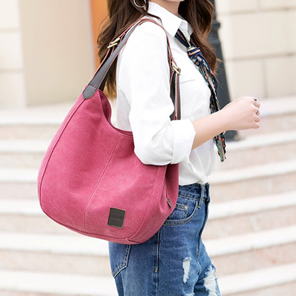 Women's Everyday Casual Shoulder Bags - Canvas Hobo Handbag Cotton Totes Purses Brown