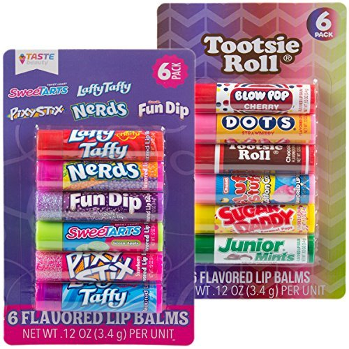 12pc Candy Flavored Lip Balm Assorted Flavors (Tootsie Roll and Candy) -