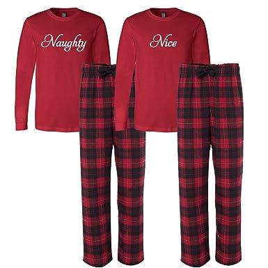 7d9b50f7f0 Cotton Sisters Naughty and Nice Christmas Pajama Set (L Naughty - S Nice)