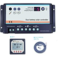 Controlador de carga solar de doble batería EPEVER 20A, ajuste automático de 12V 24V para vehículos recreativos o dos sistemas de carga solar separados, controlador DB-20A + controlador remoto MT-1