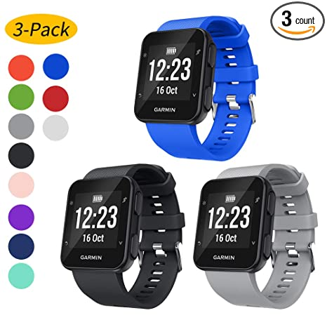 Watbro Band Compatible with Garmin Forerunner 35, Soft Silicone Replacement Watch Strap, for Garmin Forerunner 35 Smart Watch, Fit 5.11-9.05 Inch ...