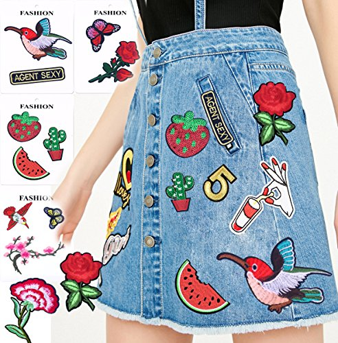 Patches 14Pcs a Pack Hand Iron On Sewing On Embroidered Patch Rose ,Birds,Cactus Clothes Stickers Garment DIY Apparel Appliques Decal Sticker for Denim Jeans Jacket Handbag (Set C)