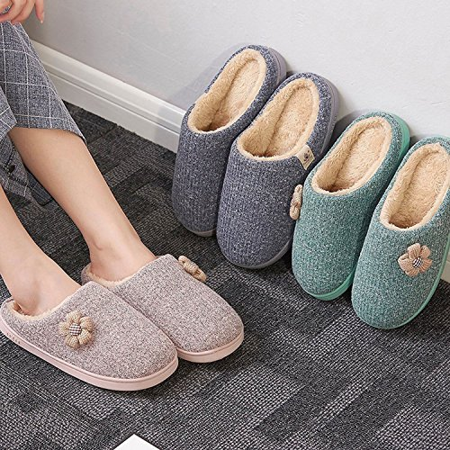 CHNHIRA Men and Women's Cashmere Cotton Slippers Knitted Anti-Slip House Slippers, Winter Breathable Indoor Shoes Men Green S