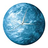 Happy Hours - 30cm Luminous Earth Decor Quartz Wall Clock/Creative Glow in The Dark Wall Stickers for Kids, Boy, Girls Bedroom, Children Room, Playroom with Super Silent Movement