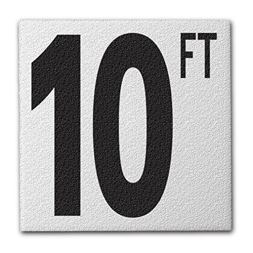 10' Ceramic Tile - Aquatic Custom Tile Ceramic Swimming Pool Deck Depth Marker 10 FT Abrasive Non-Slip Finish, 5 inch Font