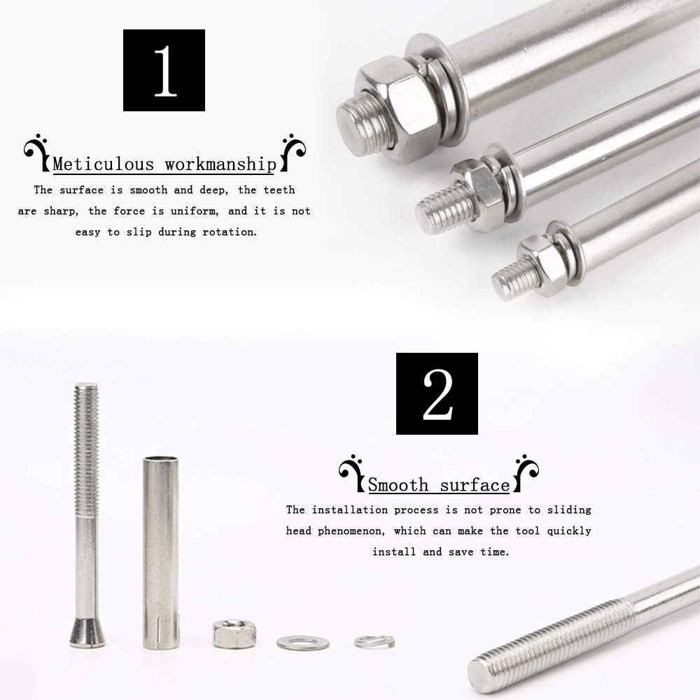 DAZISEN 4 PCS Stainless Steel Expansion Screw Bolts M10 External Hex Nut Expansion Sleeve Anchor Bolt Heavy Duty Fixing Anchors