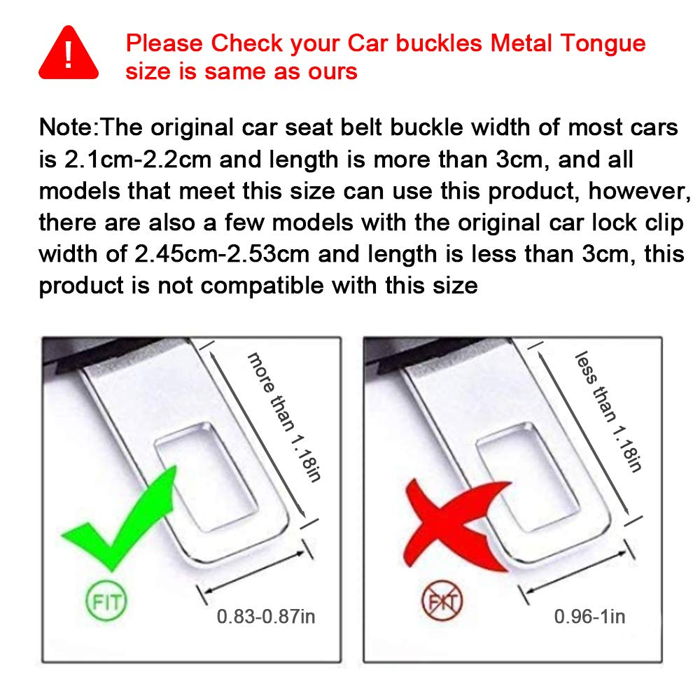 7//8-inch Metal Tongue 2 Pack Belt Extension for Extender Buckle of Most Cars