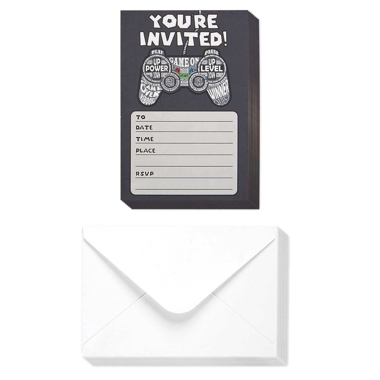 Party Invitations - Pack of 40, Video Game Theme Postcard Invitations - Includes Envelopes - Video Game Birthday Party Supplies, 4 x 6 inches