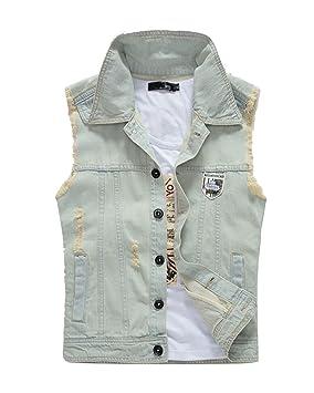 Chaquetas Jacket Sin Mangas De Mezclilla Abrigo Denim Chaleco Vaquero para Hombre Blanco M: Amazon.es: Deportes y aire libre