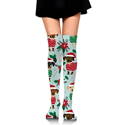 9db79dfc835 Amazon.com  GERSWEET Cotton Thigh High Socks Thin Tube Sock with Christmas  Sweaters Cute Dachshunds Cosplay Over Knee High Socks Stocking for Women  Teens ...