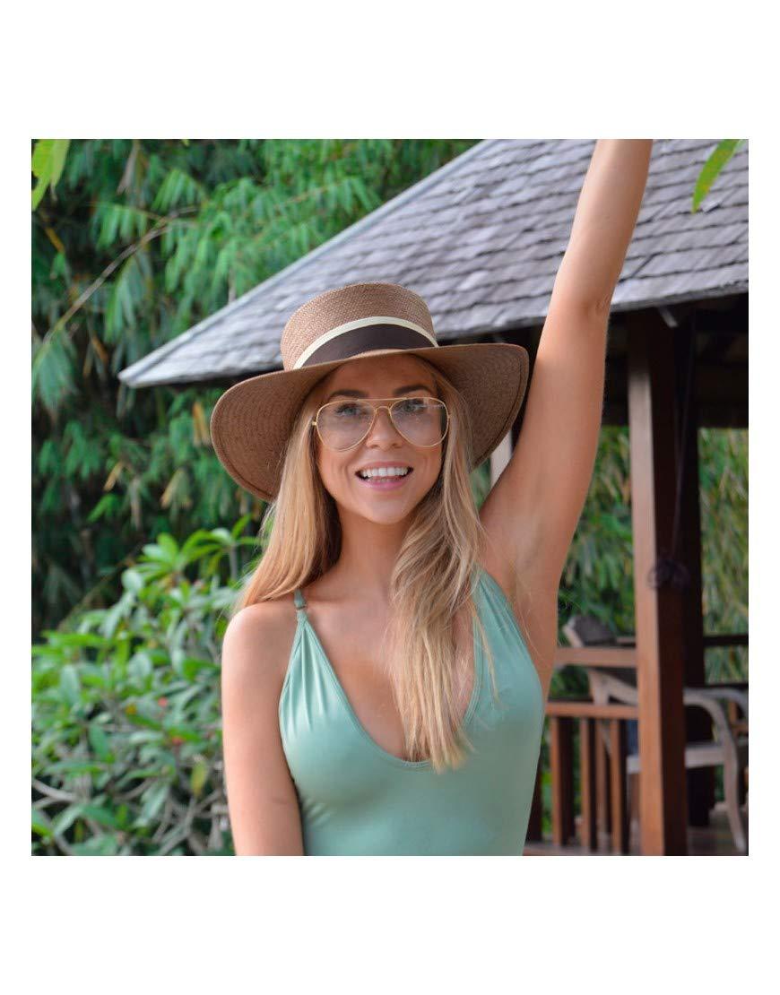 100/% Papel Sombrero para el Sol Ala 8 cm RACEU ATELIER Sombrero Acapulco Cappuccino Sombreros Playa