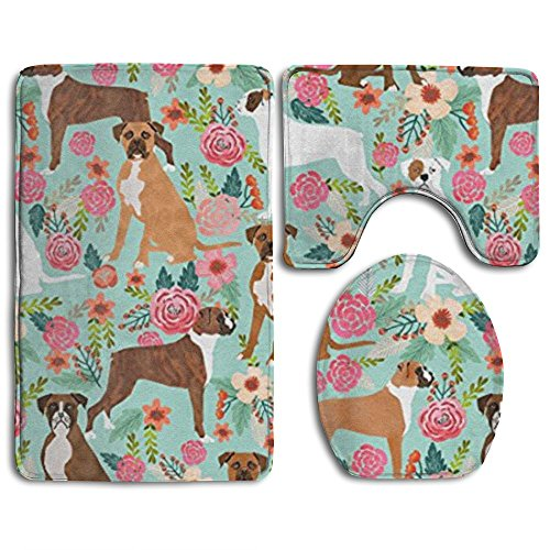 - HOMESTORES Boxer Dog Flowers Florals Mint Cute Flowers Bathroom 3-Piece Mat Sets Pedestal Mat + Lid Toilet Cover + Bath Mat Doormat Non-slip Rug