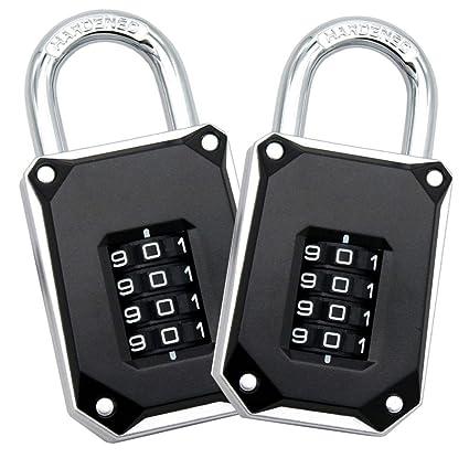 FortLocks Padlock 4 Digit Combination Lock BAG OF 4
