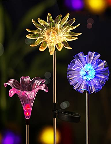Bright Zeal Solar Stake Lights, Life-Size Figurines LED, Set of 3 Dandelion Lily Sunflower-Color Changing