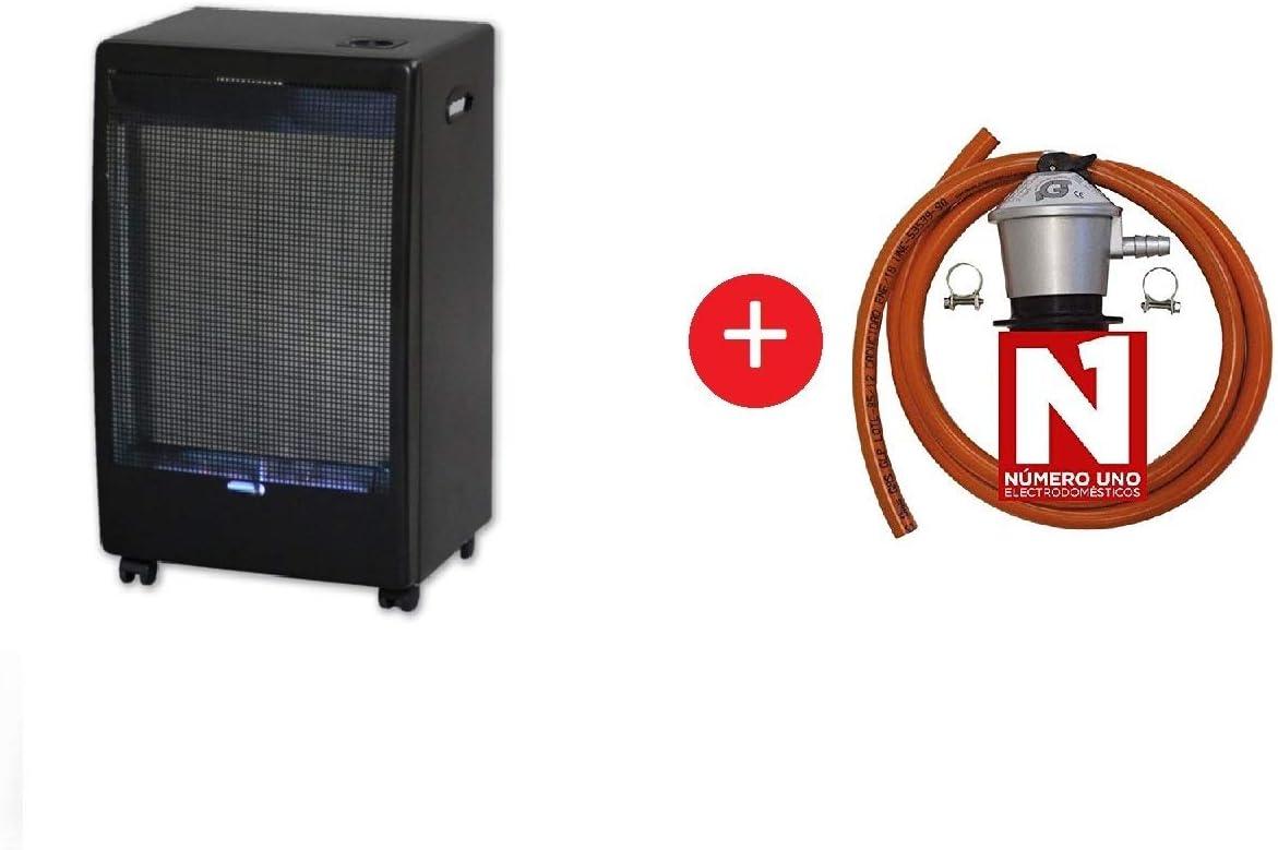 ElectrodomesticosN1 Pack Estufa Jocel de Butano JAG012203 Catalítica, 3900 W + Regulador de Gas butano HVG, Tubo Manguera 0,8 Metros, Abrazaderas
