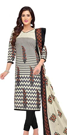f018b3bdd7 Image Unavailable. Image not available for. Colour: Baalar Elegance Women's  Grey Color Pure Printed Cotton Unstitched Dress Material ...