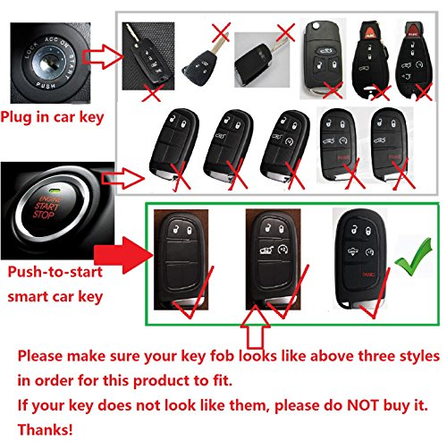 Fits Dodge RAM Smart Keyless Start Stop Engine Car Key Light Weight Glossy Finish Key Fob Protection Case MissBlue Carbon Fiber Key Fob Cover for Dodge RAM Key Fob Remote Key Red