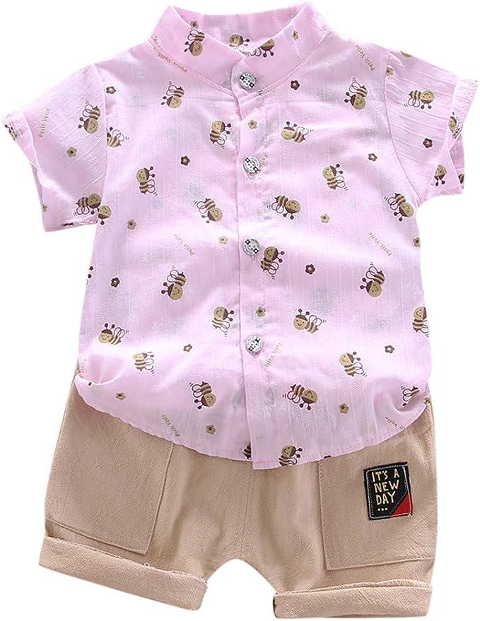 Baby Junge Kleidung Set Hemden Freizeitshorts Zweiteilig Anzug Kleinkind Kinder Kurzarm Bienenmuster Shirt Tops Shorts Outfits Set Amazon De Bekleidung