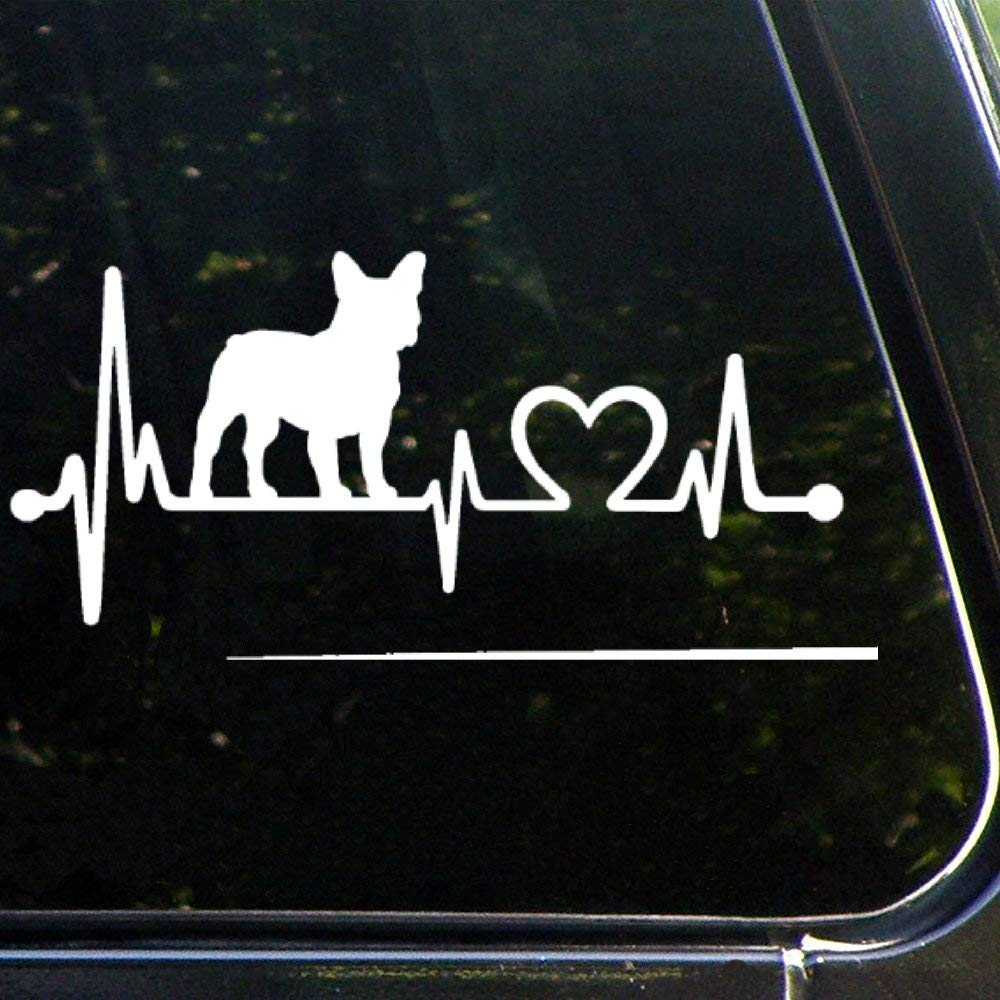 French Bulldog Frenchie Heartbeat Dogauto Sticker,Vinyl Car Decal,Decor for Window,Bumper,Laptop,Walls,Computer,Tumbler,Mug,Cup,Phone,Truck,Car Accessories luttezhspvxg