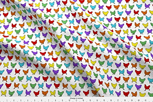 Spoonflower Hens Fabric Chicken Rainbow by Sufficiency Printed on Cotton Spandex Jersey Fabric by The Yard (Cotton Jersey Rainbow)