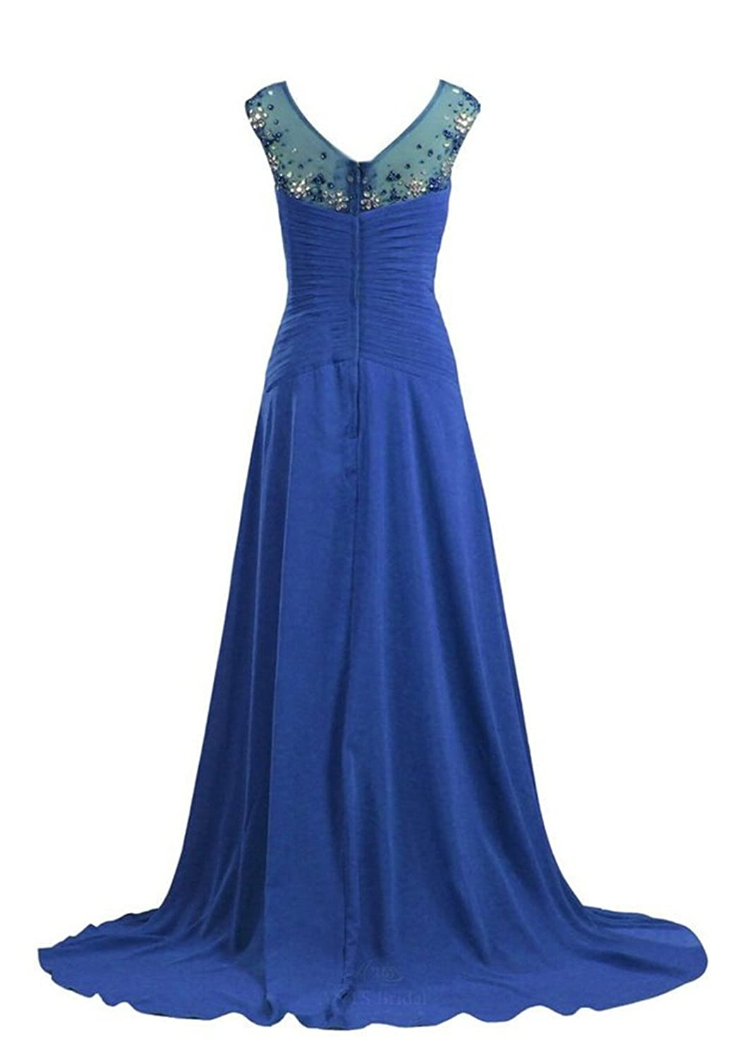 AngelDragon O-Neck Crystal Beaded Party Prom Dress Chiffon Long Evening Gown