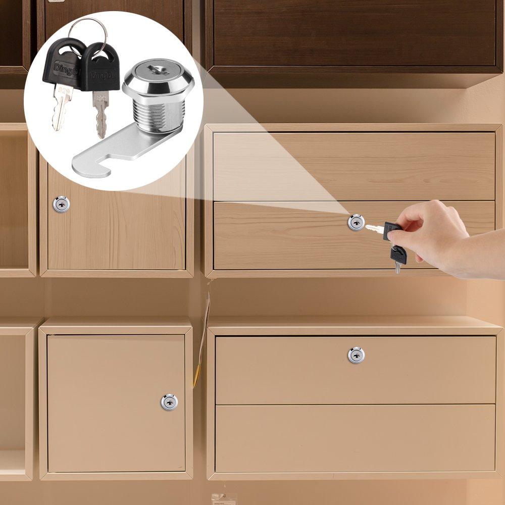 Cam Lock 2 Key for Door Cabinet Mailbox Drawer Cupboard Locker 16// 20//25//30mm
