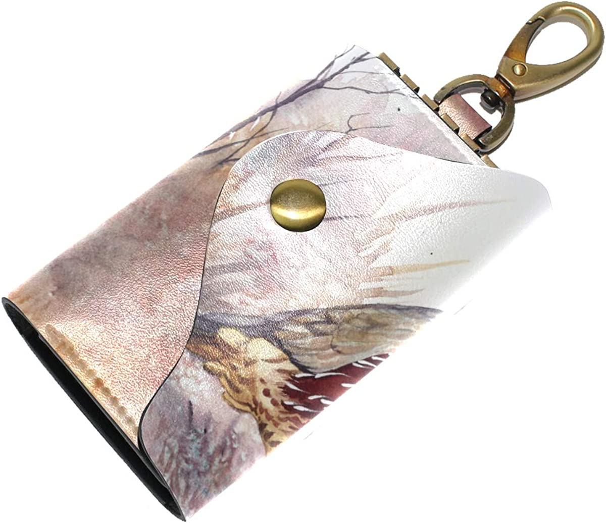 KEAKIA Watercolor Quail Leather Key Case Wallets Tri-fold Key Holder Keychains with 6 Hooks 2 Slot Snap Closure for Men Women