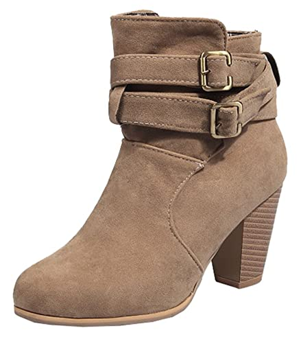 Women's Trendy Cross Buckle Microsuede High Chunky Heel Pull On Ankle Boots