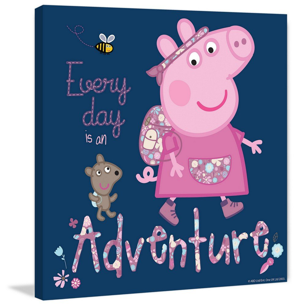 Marmont Hill Peppa Pig 'Every Day Is An Adventure' canvas Wall Art, 18'' X 18''