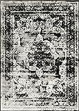 Traditional 7 feet by 10 feet (7' x 10') Sofia Black Area Rug