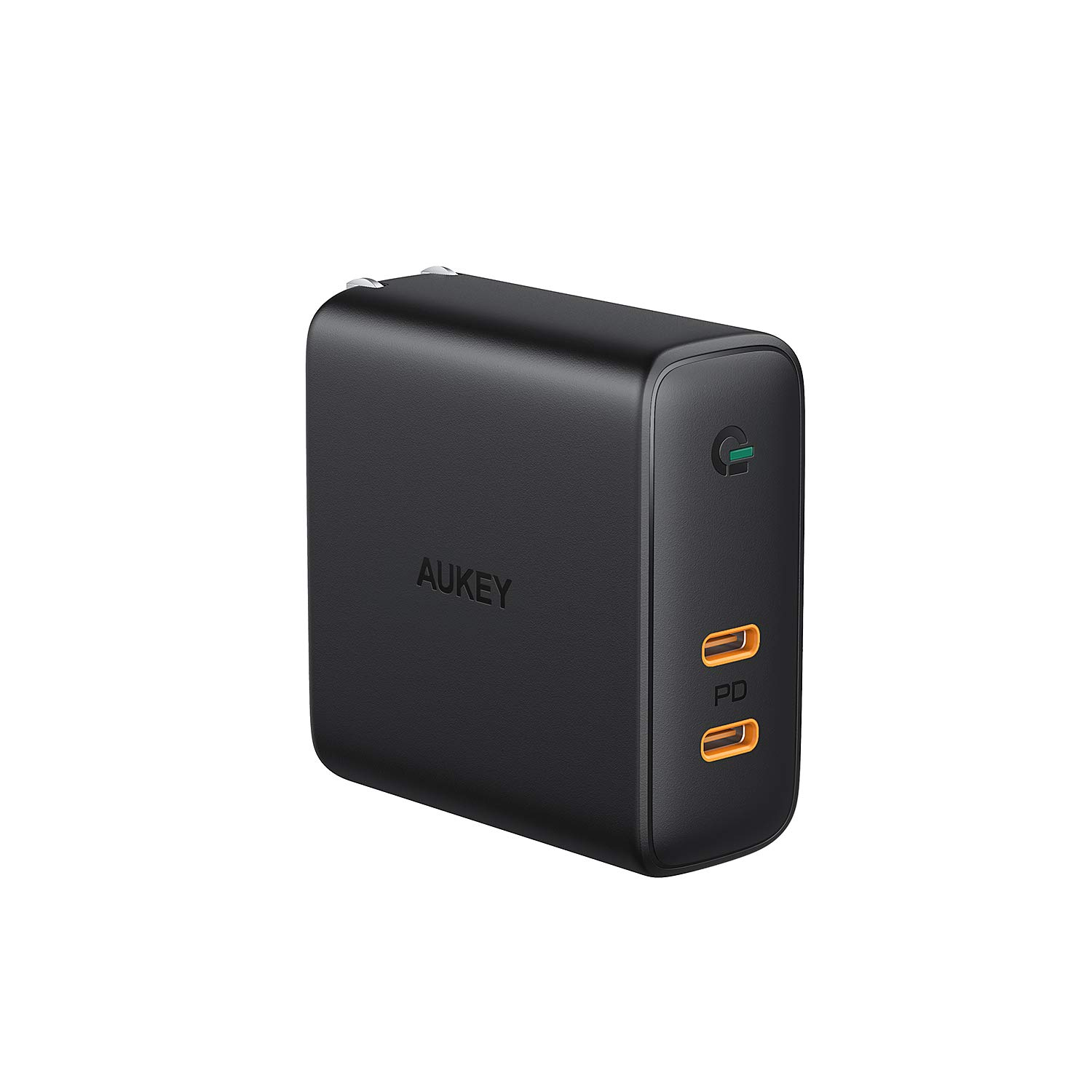 AUKEY USB C Wall Charger, USB PD Charger 60W PD 3.0 with Dynamic Detect & GaN Power Tech, 63W USB C Dual Port for MacBook Pro, iPhone 11 Pro / 11 Pro Max / 11, Pixel 3 / 3XL, Nintendo Switch, and More by AUKEY