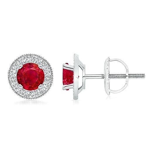Angara Round Ruby Margarita Stud Earrings in Platinum 7Emv1W