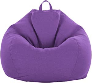"iBccly [No Filler] Bean Bag Chair Cover, Soft Bean Bags Chairs for Kids Teens | Stuffable Zipper Beanbag for Organizing Children Plush Toys for Garden Lounge Dorm Room (Purple, S-27.5""x 31.5"")"