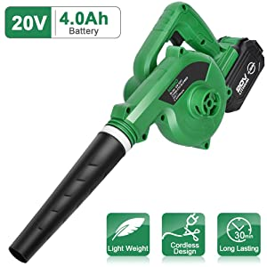 KIMO Cordless Leaf Blower – 20V 4.0 AH Lithium Battery Powered Lightweight, Compact 2 in 1 Sweeper & Vacuum for Clearing Dust, Leaf & Snow, Car Vacuum, Patio/Deck/Garden Cleaning, Garage Dusting