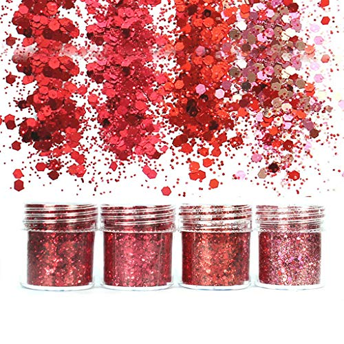 Colorful Gradient Glitter Powder Shiny Chunky Glitters For Resin Jewelry Making (Color - Red Series)