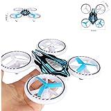 Hochwertige kleine mini Drohne / Drone auffällige LED Beleuchtung (14 cm) Quadrocopter 2,4 GHz Komplettpaket - inkl. Akku Ladegerät- blau