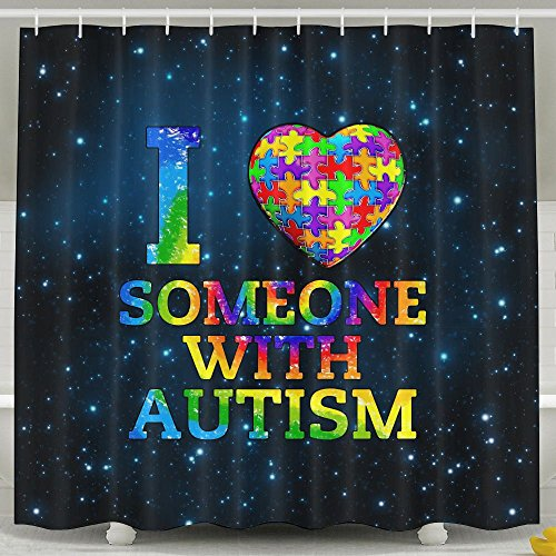 I Love Someone With Autism Shower Curtain Fabric Bathroom Shower Curtain Set,72x60 Inch