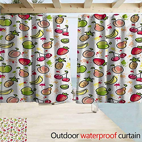 AndyTours Thermal Insulated Blackout Curtains,Fruits Watercolor Pear Cherries Kiwi Apple Brushstroke Splashes Cute Kids Kitchen,Simple Stylish Waterproof,W63x45L Inches,Peach Lime Green Red