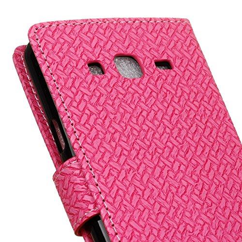 YHUISEN Patrón de armadura de cierre magnético PU de cuero de la cartera de Flip Folio caso con soporte / tarjeta de ranura cubierta de la caja de protección para Samsung Galaxy J1 Mini Prime ( Color  Pink
